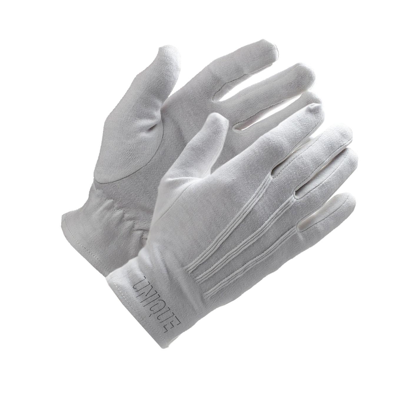 100% Cotton Bleached interlock gloves.