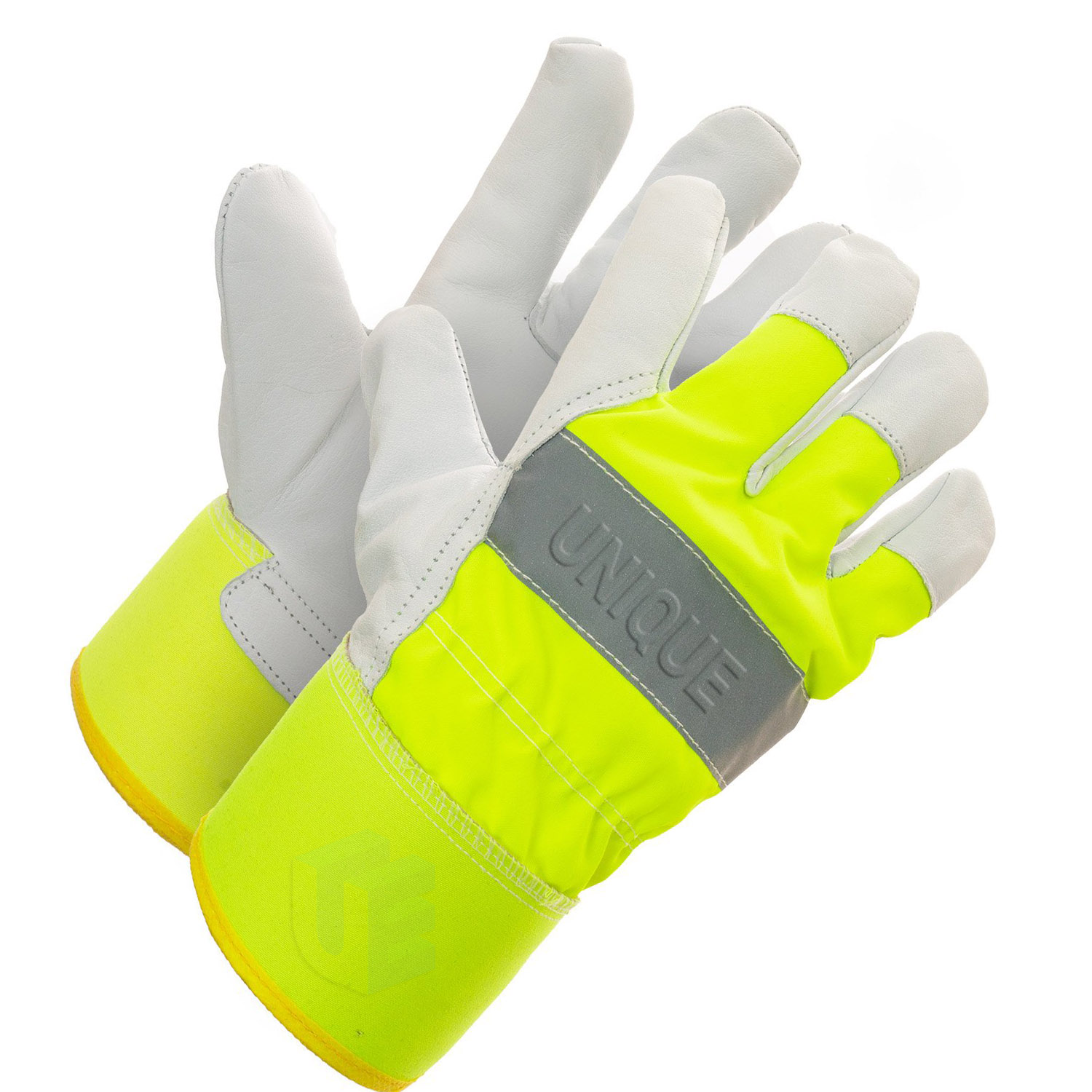 Cow Split Leather Palm Gloves With Hi-Viz Fabric and Rubberized Safety Cuff.
